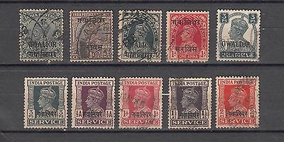 Indian States Gwalior 10 Different Used Stamps