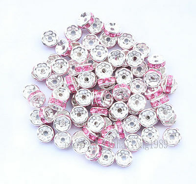 Job - Lot 50 x Silver & Pink Rondella Spacer Beads *BN*