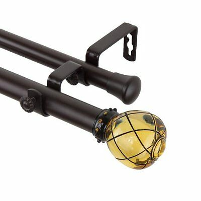 Rod Desyne Supreme Double Curtain Rod, 120 by 170-Inch, Clear Champagne