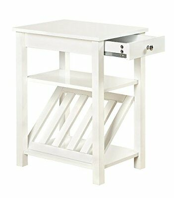 Furniture of America Erhart II 1-Drawer Side Table with Magazine Rack, Whit
