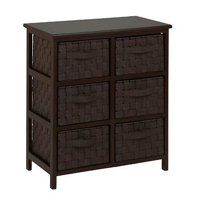 Honey-Can-Do TBL-03759 6-Drawer Storage Chest with Woven-Strap Fabric, Espr