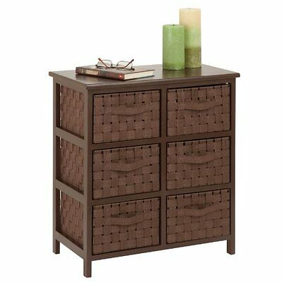 Honey-Can-Do TBL-03758 6-Drawer Storage Chest with Woven-Strap Fabric, Brow