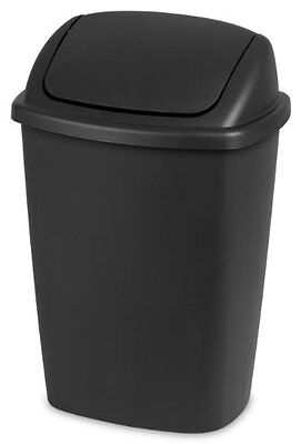 Sterilite 10689006 Swing Top Wastebasket with Black Lid and Base, 7.5-Gallo