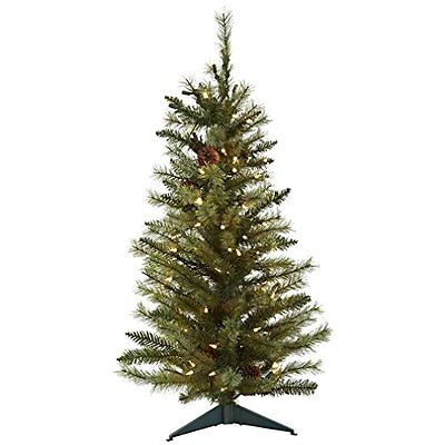 Nearly Natural 5441 Christmas Tree with Pine Cones and Clear Lights, 3-Feet