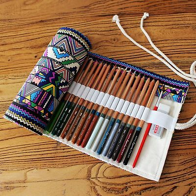 Canvas Pen Roll Up Bag Curtain Ball Pen Box 36 Holes Pencil Case Stationery