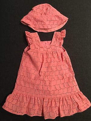 Seed Baby Girl Size 0 Watermelon Broderie Dress And Matching Hat