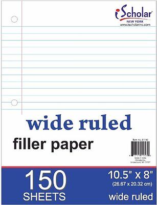 iScholar Wide Ruled Filler Paper, White, 10.5 x 8-Inches, 150 Sheets per Pa