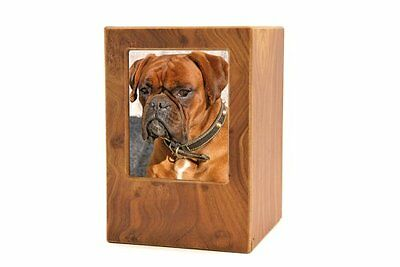 Near & Dear Pet Memorials MDF Pet Photo Cremation Urn, 200 Cubic Inch, Natu