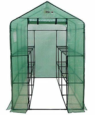 Ogrow Extra Large Heavy Duty WALK-IN 2 Tier 12 Shelf Portable Lawn and Gard