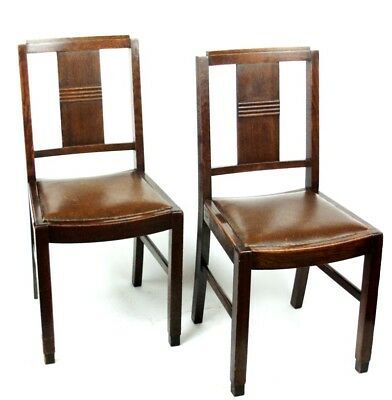 Art Deco pair of Oak Wood Dining Chairs | Patina - PRICE IS FOR PAIR [PL2033A]