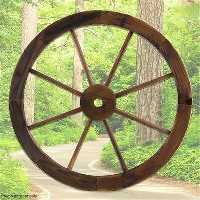 Large Fir Timber Wooden Wagon Wheel Garden Decor Outdoor Wall Feature 60.5cm