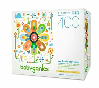 Babyganics Face, Hand & Baby Wipes, Fragrance Free, 400 Count (Contains Fou