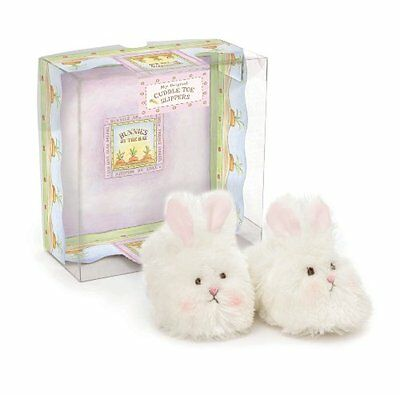 Bunnies by the Bay Bunny Cuddle Toe Slippers, White, 6-12 Mo