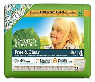 Seventh Generation Free and Clear Sensitive Skin Baby Diapers with Animal P