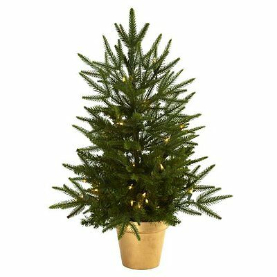 Nearly Natural 5370 2.5-Feet Christmas Tree with Golden Planter and Clear L