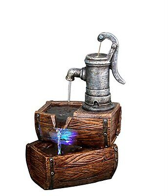 Alpine WIN826 2-Tier Barrel Fountain with LED Light