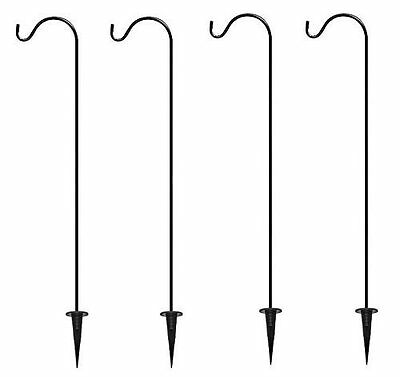 Shepherd's Hooks Garden Stakes, Set of 4 - BEST Lawn Stakes for Décor -