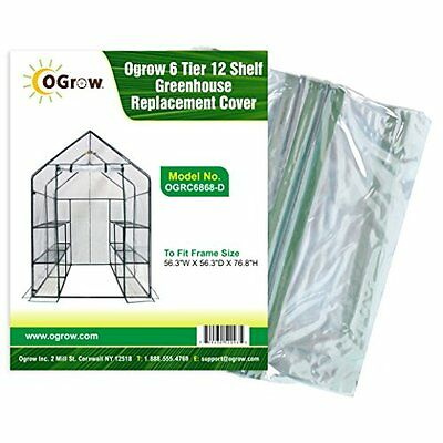Ogrow 6 Tier 12 Shelf Greenhouse Replacement Cover, 56.3 x 5