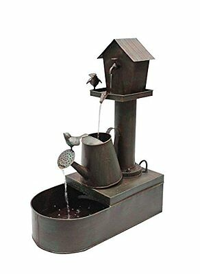 Alpine MAZ260 Birdhouse into Water Can Floor Fountain, 24""