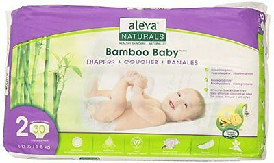 Aleva Naturals Bamboo Baby Diapers, Size 2, 30 Count