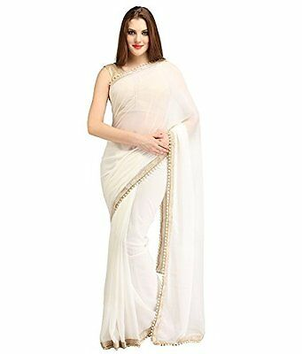 Bollywood Indian Pakistani Ethnic Handmade Designer Georgette White Saree
