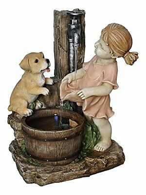 Alpine Girl With Dog Spout Bucket Fountain, 20""