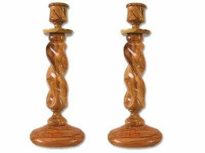 Pair of Straight Solid Olive Wood Winding Candle Holders.