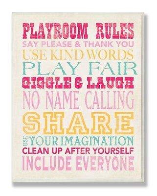 The Kids Room by Stupell Playroom Rules Typography in Pinks,