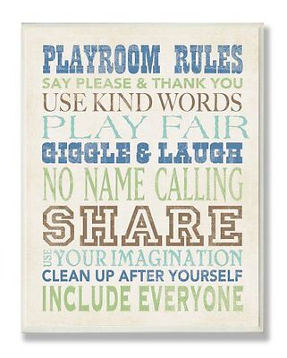The Kids Room by Stupell Playroom Rules Typography in Blues,