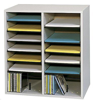 Safco Products Wood Adjustable Literature Organizer, 16 Compartment, Gray (