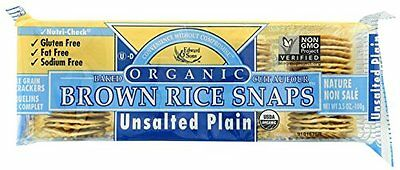 Brown Rice Snaps, Unsalted Plain with Organic Brown Rice, 3.5-Ounce Packs (