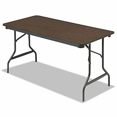 Iceberg ICE55314 Economy Wood Laminate Folding Table with Brown Steel Legs,