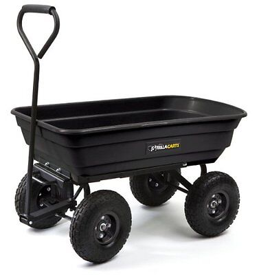 Gorilla Carts GOR200B Poly Garden Dump Cart with Steel Frame and 10-Inch Pn