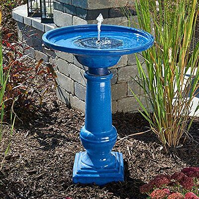 Smart Garden 25372RM1 Athena Glazed Blue Ceramic Birdbath Fountain With Sol