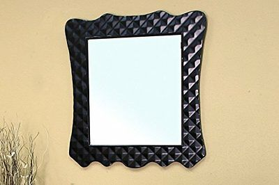 Bellaterra Home 203057B-MIRROR Solid Wood Frame Mirror, Black