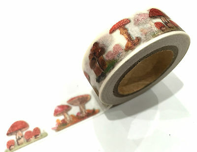 1PC NEW Japanese Washi Tape Craft Sticker, Red Mushroom Forest Fairy Tale 10M