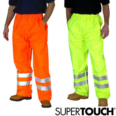 Hi Vis Viz Visibility Over Trousers Waterproof Safety Work Wear Pants NEW