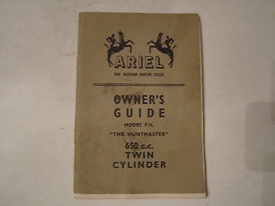 1958 Ariel 650 Cc Twin Cylinder Huntmaster Owner's Guide Manual -Bn-12