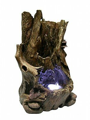 Rainforest Waterfall Fountain with Light (Brown) (11H x 5W x 7D)