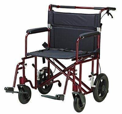 Drive Medical Bariatric Transport Chair with 12 Inches Rear Flat Free Wheel