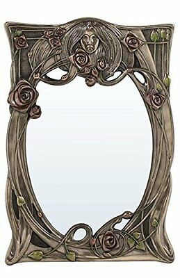 12.25 inch Art Nouveau Rectangular Wall Mirror Face in Relief Roses