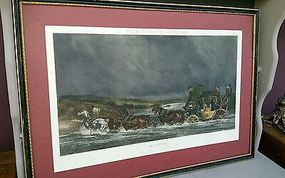 Large Antique Print of Painting CC Henderson  1845 Flooded Sporting Horse Framed
