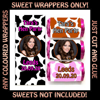 Personalised COW PRINT Love Heart Sweet WRAPPERS ONLY for Birthday Hen Party Bag