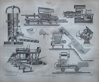 1878 TORF Torfmaschine original antiker Druck antique print Lithografie