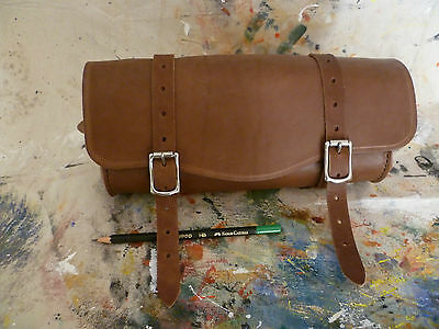 Motorcycle front forks vintage style handmade leather tool bag.Australian made.