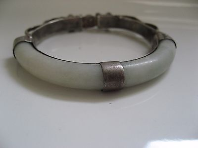 Antique Chinese Dragon Head Silver White Jade Bracelet Signed Child?