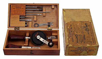 North Brothers Yankee Radio Tool Kit No. 106 - Orig. Wooden Box in Pasteboard