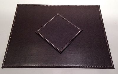 Chocolate Stitch Faux Leather Table Mats Placemats & Coaster Set 4, 6, 8,12