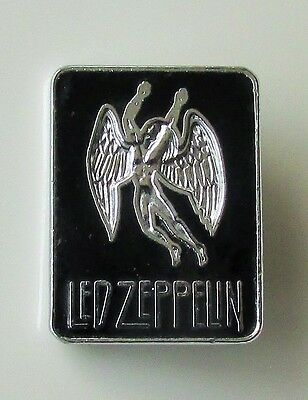 LED ZEPPELIN SWAN SONG LOGO OLD BLACK ENAMEL PIN BADGE FROM THE 1970's / 80s