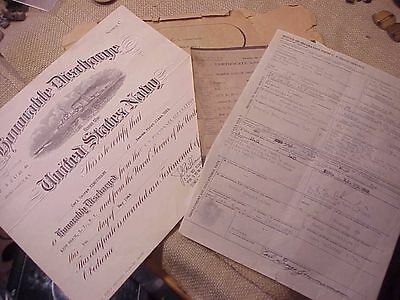Original Wwii Usn Discharge Papers - Sailor On Uss Randolph
